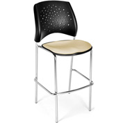OFM Cafe Height Chair - Fabric - Star Pattern - Chrome Base - Khaki - Pkg Qty 2