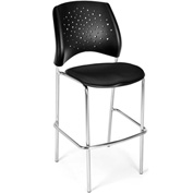 OFM Cafe Height Chair - Fabric - Star Pattern - Chrome Base - Black - Pkg Qty 2