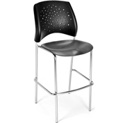OFM Cafe Height Chair - Plastic - Star Pattern - Chrome Base - Black - Pkg Qty 2