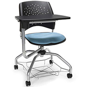 OFM Foresee Mobile Tablet Arm Chair with Storage Basket - Cornflower Blue - Stars Series
