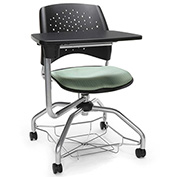 OFM Foresee Mobile Tablet Arm Chair with Storage Basket - Sage Green - Stars Series