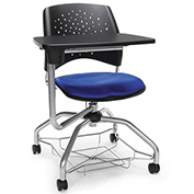 OFM Foresee Mobile Tablet Arm Chair with Storage Basket - Royal Blue - Stars Series