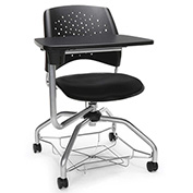 OFM Foresee Mobile Tablet Arm Chair with Storage Basket - Black - Stars Series