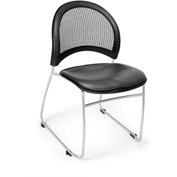 Ofm Moon Vinyl Stack Chair, Charcoal - Pkg Qty 4