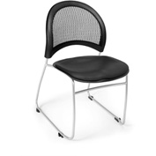 OFM Stacking Chair - Vinyl - Mid Back - Black - Moon Series - Pkg Qty 4