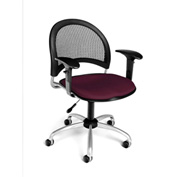 OFM Moon Fabric Swivel Chair with Arms, Burgundy