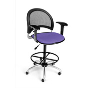 OFM Fabric Swivel Stool with Arms & Drafting Kit (Footstool) - Moon Pattern - Lavender