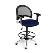 OFM Fabric Swivel Stool with Arms & Drafting Kit (Footstool) - Moon Pattern - Navy