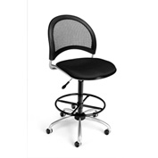 OFM Fabric Swivel Stool with Drafting Kit (Footstool) - Moon Pattern - Black