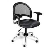OFM Moon Plastic Swivel Chair with Arms, Black