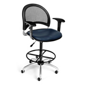 OFM Vinyl Swivel Stool with Arms & Drafting Kit (Footstool) - Moon Pattern - Navy