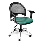 OFM Moon Vinyl Swivel Chair with Arms, Teal