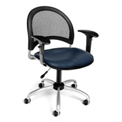 OFM Moon Vinyl Swivel Chair with Arms, Navy