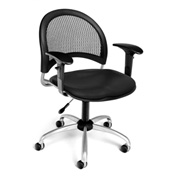 OFM Moon Vinyl Swivel Chair with Arms, Black