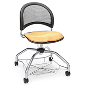 OFM Foresee Mobile School Chair with Storage Basket - Golden Flax - Moon Series