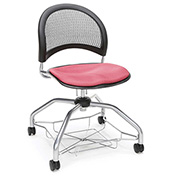 OFM Foresee Mobile School Chair with Storage Basket - Coral Pink - Moon Series