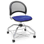 OFM Foresee Mobile School Chair with Storage Basket - Royal Blue - Moon Series