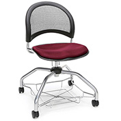 OFM Foresee Mobile School Chair with Storage Basket - Burgundy - Moon Series