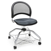 OFM Foresee Mobile School Chair with Storage Basket - Slate Gray - Moon Series