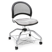 OFM Foresee Mobile School Chair with Storage Basket - Putty - Moon Series