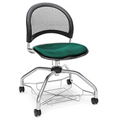 OFM Foresee Mobile School Chair with Storage Basket - Forest Green - Moon Series