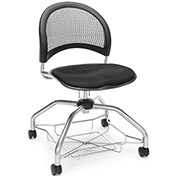 OFM Foresee Mobile School Chair with Storage Basket - Black - Moon Series