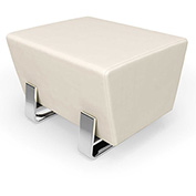 OFM Vinyl Lobby Bench - Single Seating - Linen with Chrome Frame - Axis Series