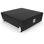 OFM Vinyl Lobby Bench with USB Port - Square - Midnight with Chrome Frame - Axis Series