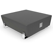 OFM Vinyl Lobby Bench with USB Port - Square - Slate with Chrome Frame - Axis Series