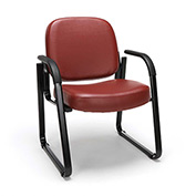 OFM Antimicrobial Guest Chair with Arms - Vinyl - Mid Back - Wine