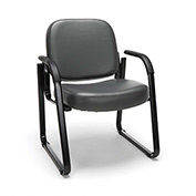 OFM Antimicrobial Guest Chair with Arms - Vinyl - Mid Back - Charcoal