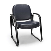 OFM Antimicrobial Guest Chair with Arms - Vinyl - Mid Back - Navy