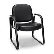 OFM Antimicrobial Guest Chair with Arms - Vinyl - Mid Back - Black