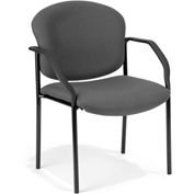 OFM Stacking Guest Chair with Arms - Fabric - Mid Back - Gray - Manor Series