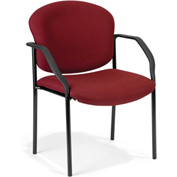 OFM Stacking Guest Chair with Arms - Fabric - Mid Back - Wine- Manor Series