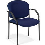 OFM Stacking Guest Chair with Arms - Fabric - Mid Back - Navy - Manor Series