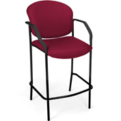 OFM Café Height Chair With Arms - Fabric - Wine - Pkg Qty 2