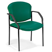 OFM Antimicrobial Guest Chair with Arms - Vinyl - Mid Back - Teal - Manor Series