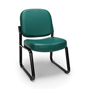 OFM Antimicrobial Reception Guest Chair - Vinyl - Mid Back - Teal