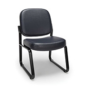 OFM Antimicrobial Reception Guest Chair - Vinyl - Mid Back - Navy