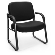 OFM Big and Tall Guest Chair with Arms- Fabric - Mid Back - Black