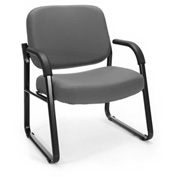 OFM Big and Tall Guest Chair with Arms- Fabric - Mid Back - Gray