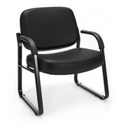 OFM Big and Tall Guest Chair with Arms- Vinyl - Mid Back - Black