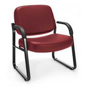 OFM Big and Tall Guest Chair with Arms- Vinyl - Mid Back - Wine