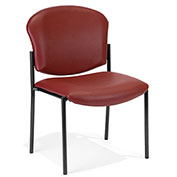 Anti-Microbial Vinyl Upholstered Armless Stacking Chair - Wine