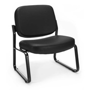 OFM Antimicrobial Big and Tall Guest Chair- Fabric - Mid Back - Black