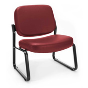 Big & Tall Armless Vinyl Guest/Reception Chair Wine
