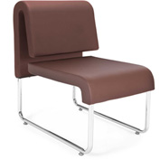 Uno Lounge Chair - Brown Leatherette Back & Seat - Pkg Qty 2