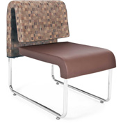 Uno Lounge Chair - Copper Fabric Back & Brown Leatherette Seat - Pkg Qty 2