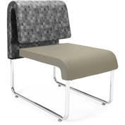 Uno Lounge Chair - Nickel Fabric Back & Taupe Leatherette Seat - Pkg Qty 2